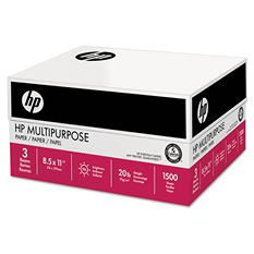 HP Multipurpose Paper, 20lb, 96 Bright,  8 1/2 x 11, White,  1,500 Sheets/Carton