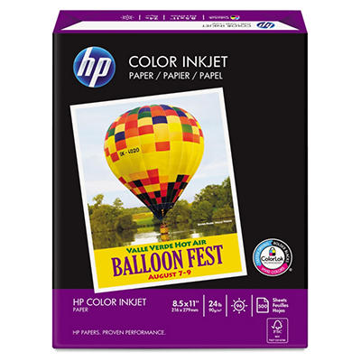 HP Color Inkjet Paper, 96 Brightness, 24lb, 8-1/2 x 11, White, 500 Sheets)