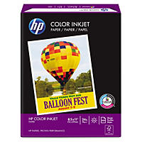HP Color Inkjet Paper, 24lb, 96 Bright, 8 1/2 x 11, White, 500 Sheets/Ream