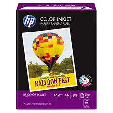 HP Color Inkjet Paper, 96 Brightness, 24lb, 8-1/2 x 11, White, 500 Sheets)