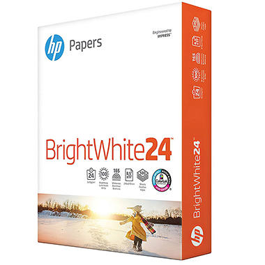 HP - Bright White Inkjet Paper, 24lb, 97 Bright, 8-1/2 x 11