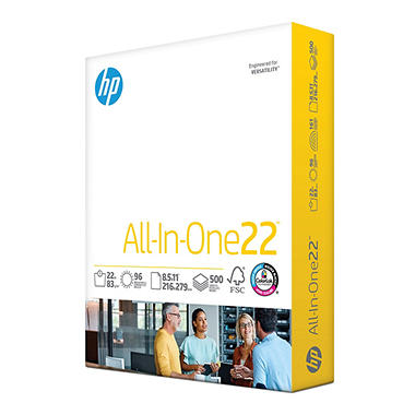 "HP - All-In-One Paper, 22lb, 96 Bright, 8-1/2 x 11"" - Ream"