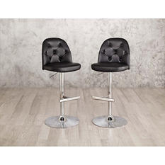 Nexia 2-Pack Gas Lift Barstools, Black or Red