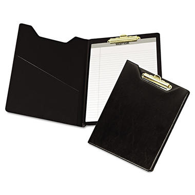Samsill - Pad Holder, Heavyweight Sealed Vinyl, Brass Clip, Inside Front Pocket - Black