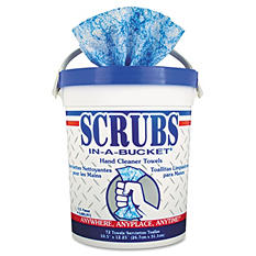 Scrubs - Hand Cleaner Towels, 10 1/2 x 12 1/4, Blue/White, 72/Bucket -  6 Buckets/Carton