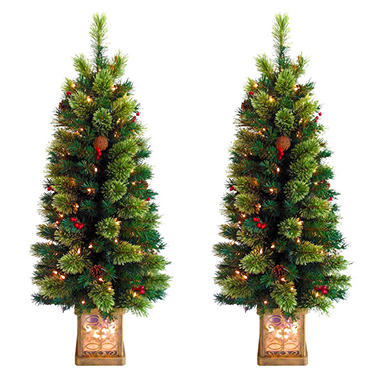 Two Piece Pre-Lit Topiary Set