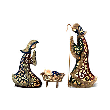 Metal Glitter Glow Nativity Set - 3 pc.