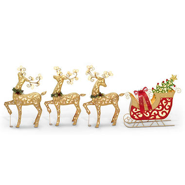 Three Lighted Metal Deer with Sleigh