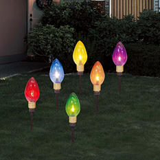 (Set of 6) Jumbo C9 Multi-Color Stake Light Set
