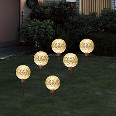 (Set of 6) Jumbo Global Shaped Stake Light Set