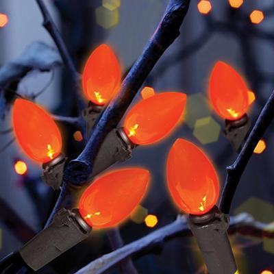 100 Count C4 LED Halloween Lights, Orange