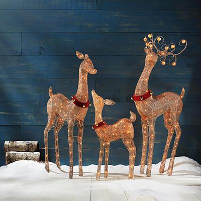 Set of 3 Decorative Holiday Deer