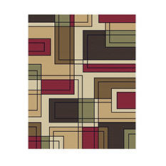Sorrento 8' x 10' Area Rug, Geo Links Red