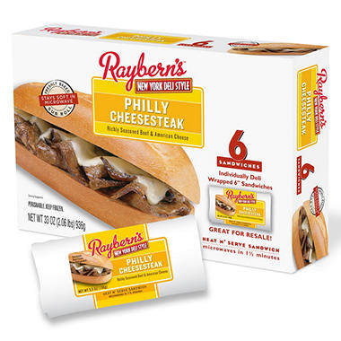 "Raybern Philly Cheese Steak 6"" Sandwiches - 6 ct."