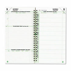Day-Timer Original Two-Page-Per-Day Wirebound Refill, 3 1/2 x 6 1/2, White/Green, 2016
