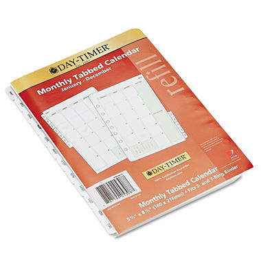 Day-Timer Dated Two Page-per-Month Organizer Refill, January-December, 5-1/2 x 8-1/2 - 2013