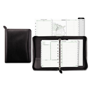 Day-Timer - Bonded Leather Organizer Starter Set, 5-1/2 x 8-1/2 -  Black