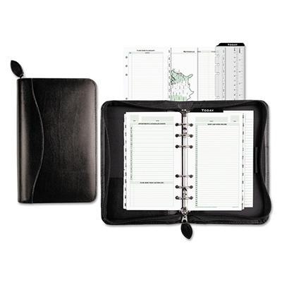 Day-Timer Bonded Leather Organizer Starter Set, 3-3/4 x 6-3/4 -  Black