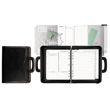 Day-Timer - Avalon Leatherlike Vinyl Attache Organizer Starter Set, 8-1/2 x 11 -  Black
