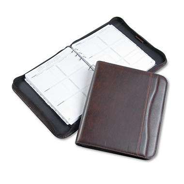 Day-Timer Sienna Simulated Leather Zippered Organizer Starter Set, 8-1/2 x 11 - Brown