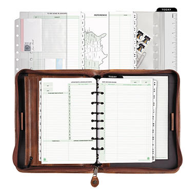 Day-Timer - Aviator Cowhide Leather Zippered Organizer Starter Set, 5-1/2 x 8-1/2, Dark Tan