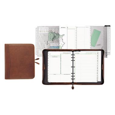 Day-Timer - Aviator Cowhide Leather Zippered Organizer Starter Set, 8-1/2 x 11, Dark Tan