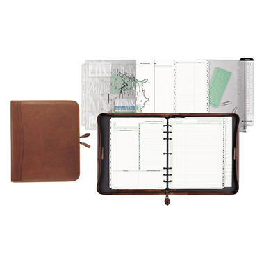 Day-Timer - Aviator Distressed Leather Starter Set, 8 1/2 x 11 -  Dark Tan