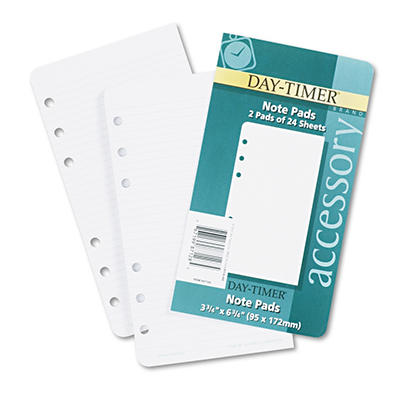 Day-Timer Lined Note Pads for Organizer, 3-3/4 x 6-3/4 -  48 Sheets/Pack
