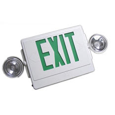 NICOR Emergency LED Exit Sign with Dual Emergency Lights