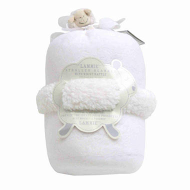Piccolo Bambino Lammie Stroller Blanket with Wrist Rattle - White