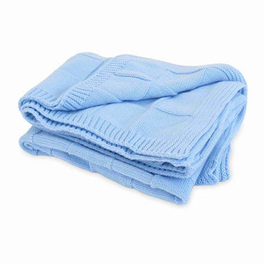 Piccolo Bambino Knitted Cotton Checker Blanket - Blue