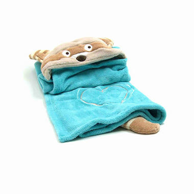 Piccolo Bambino Hooded Cuddle Blanket - Blue Raccoon