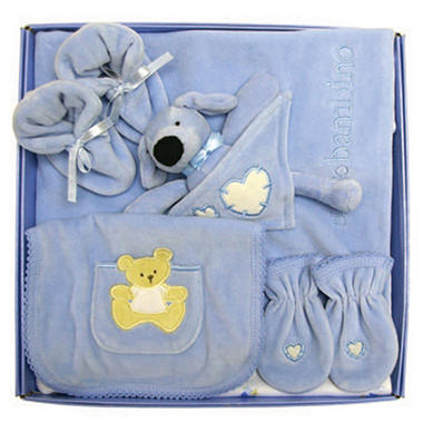Piccolo Bambino Luxurious Velour 5 Pc. Set - Blue