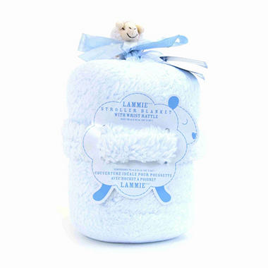 Piccolo Bambino Lammie Stroller Blanket with Wrist Rattle - Blue