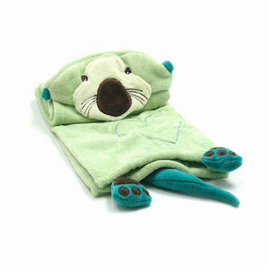 Piccolo Bambino Hooded Cuddle Blanket - Green Otter