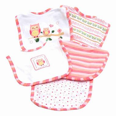 Piccolo Bambino Cotton Bibs - Pink Owls - 5 pk.