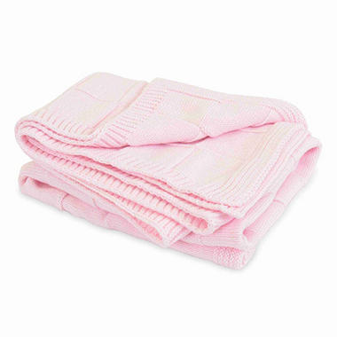 Piccolo Bambino Knitted Cotton Checker Blanket - Pink