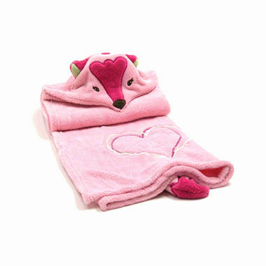 Piccolo Bambino Hooded Cuddle Blanket - Pink Fox