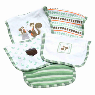 Piccolo Bambino Cotton Bibs - Green Squirrels - 5 pk.