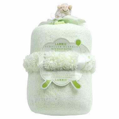 Piccolo Bambino Lammie Stroller Blanket with Wrist Rattle - Green