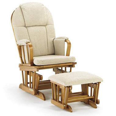 Glider Rocker & Ottoman w/ Beige Cushion
