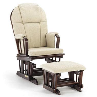 Shermag - Glider Rocker & Ottoman with Beige Cushion