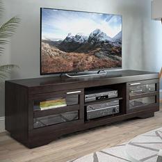 "Granville 66"" Mocha Black Wood Veneer TV Bench"