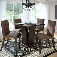 Bistro Counter Height Dining Table with 4 Chestnut Bark Dining Chairs