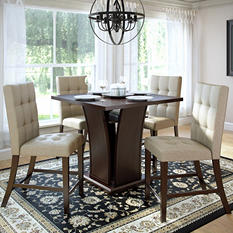 Bistro Counter Height Dining Table with 4 Platinum Beige Dining Chairs