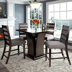 Bistro Counter Height Dining Table with 4 Grey Sand Dining Chairs