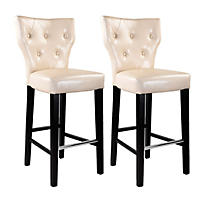 Kings Bar Height Barstool - Cream Bonded Leather (2 pk)