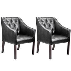 Antonio Accent Club Chair - Black Bonded Leather (2 pk)