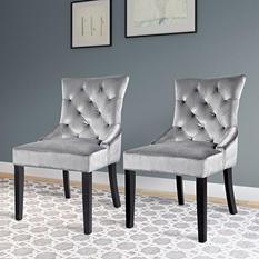 Antonio Accent Chair - Soft Grey Velvet (2 pk)