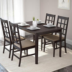 Atwood Dining Table with 4 Taupe Stone Leatherette Seats